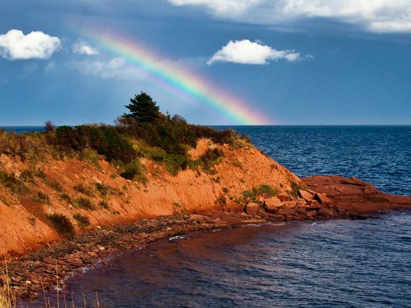 Cape Bear, Rainbow, ocean