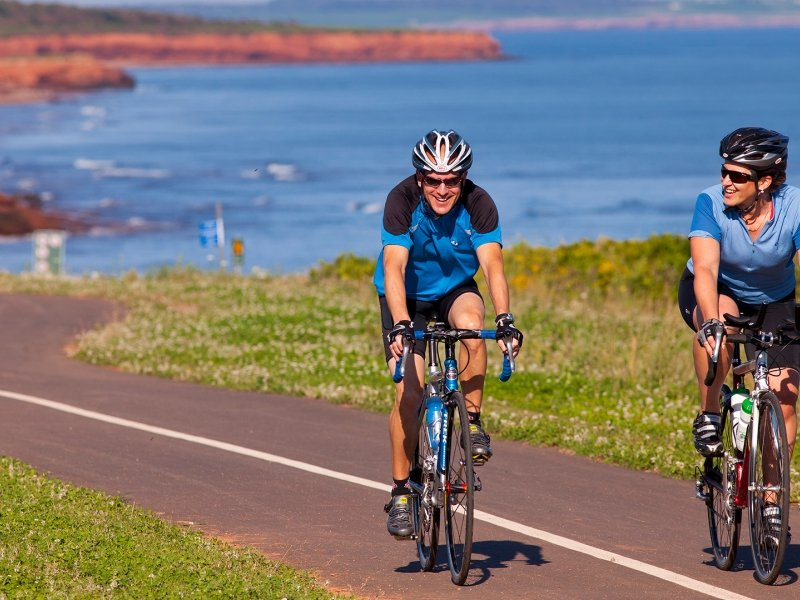 Bikers, bikes, ocean