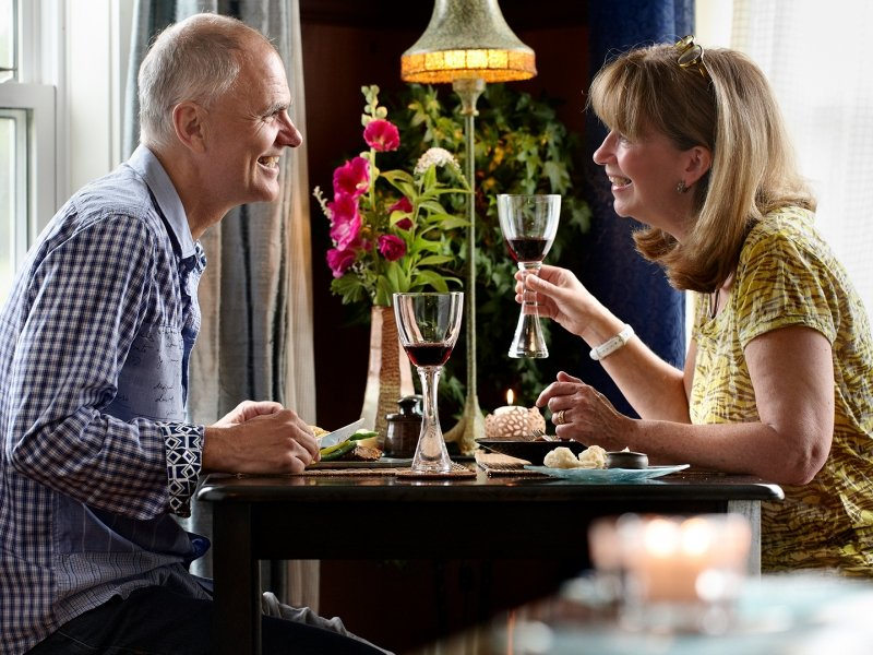 Couple at Dinner, Wine, indoors