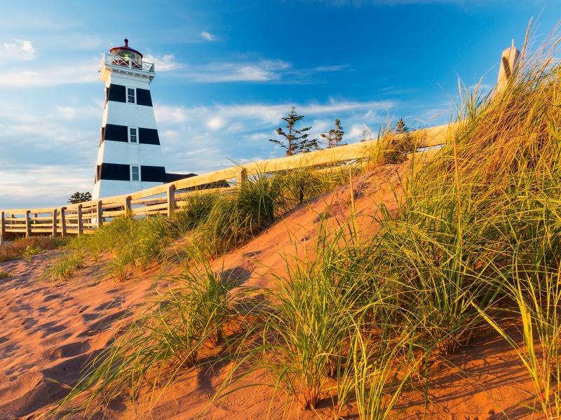 West Point, Lighthouse, sand, beach grasss