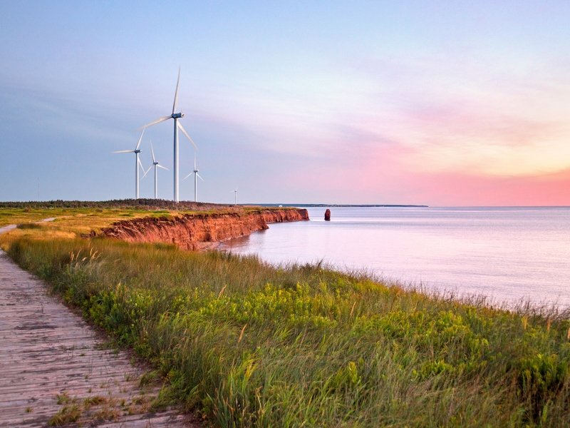 North Cape, wind turbines, ocean, path