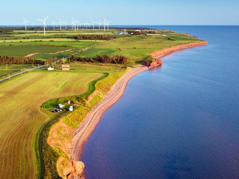 West cape, ocean, fields, wind turbines
